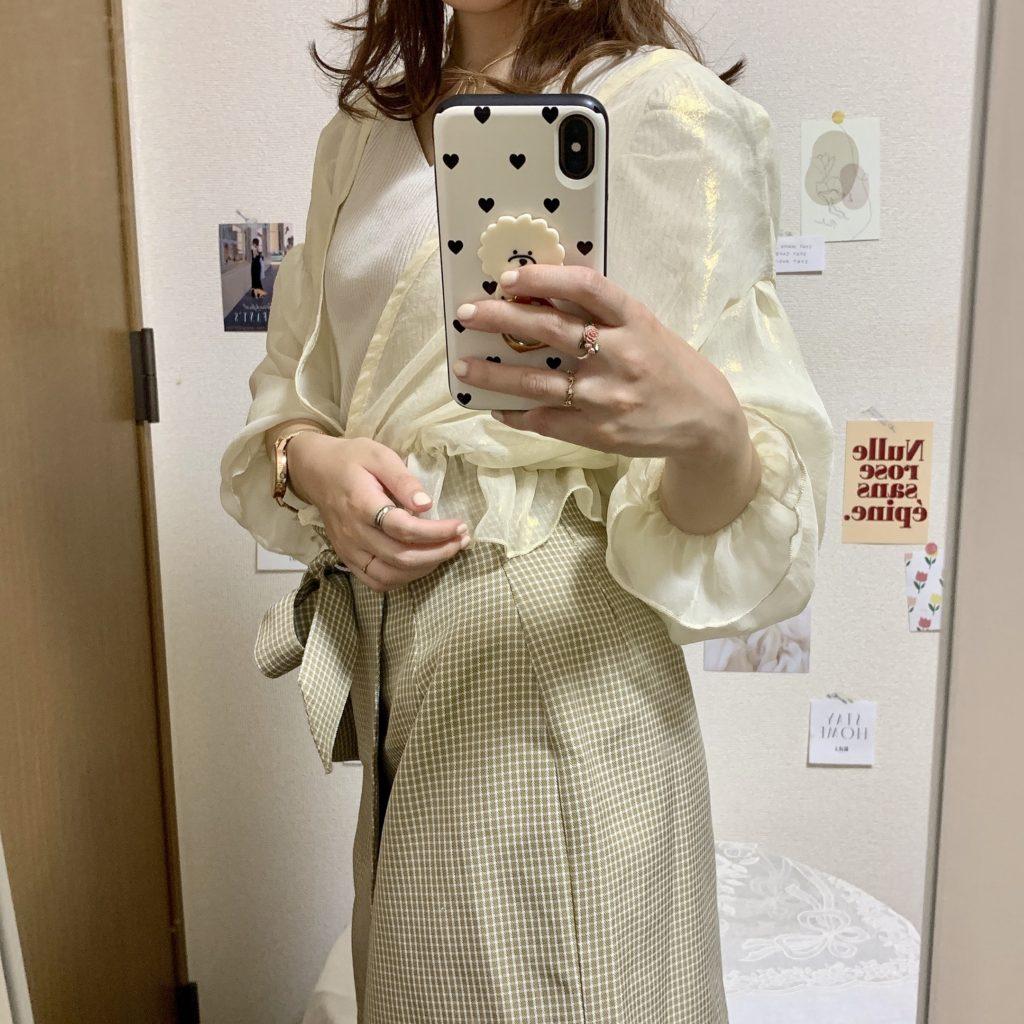 GRL グレイル おすすめ 2020 透け感 シフォン シアー カーディガン コーデ 春 夏 着回し スカート 綺麗め