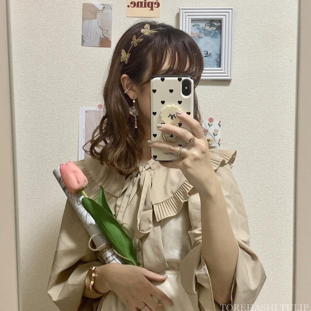 チューリップ 造花 生花 インテリア 韓国雑貨 韓国 模様替え 通販 お店 飾り方 使い方 コーデ撮影