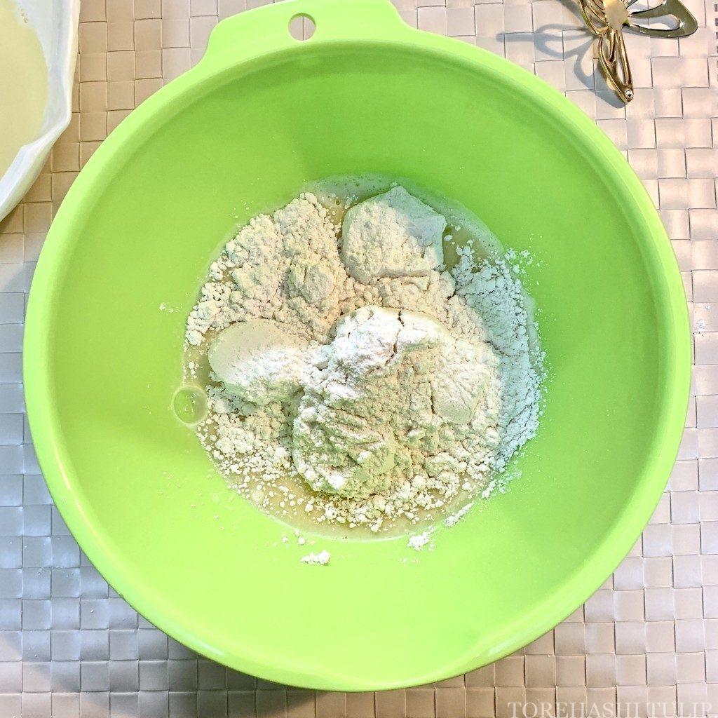 ベイクドドーナツ 揚げない ドーナツ ヘルシー おうちカフェ レシピ 作り方 簡単 ホットケーキミックス 材料を混ぜる