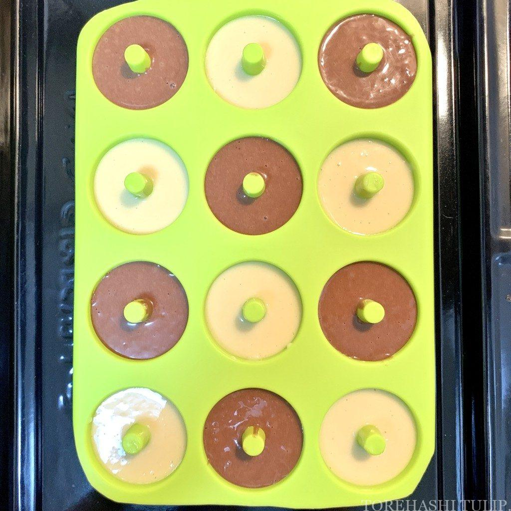 ベイクドドーナツ 揚げない ドーナツ ヘルシー おうちカフェ レシピ 作り方 簡単 ホットケーキミックス 型を入れる