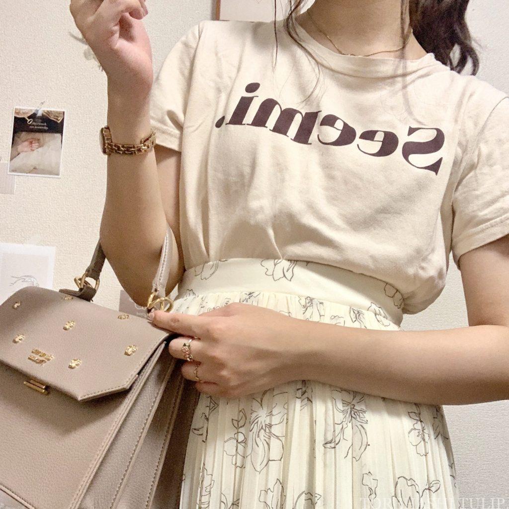 Honeys ハニーズ 2020ss 花柄ロングスカート 大人っぽい 上品 着まわしコーデ 優秀 カジュアルコーデ Tシャツ