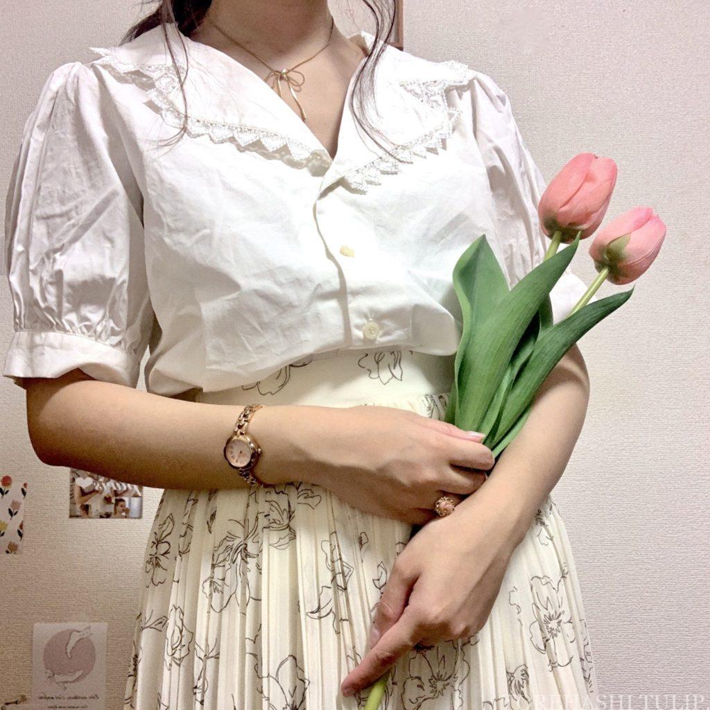Honeys ハニーズ 2020ss 花柄ロングスカート 大人っぽい 上品 着まわしコーデ 優秀 ガーリーコーデ