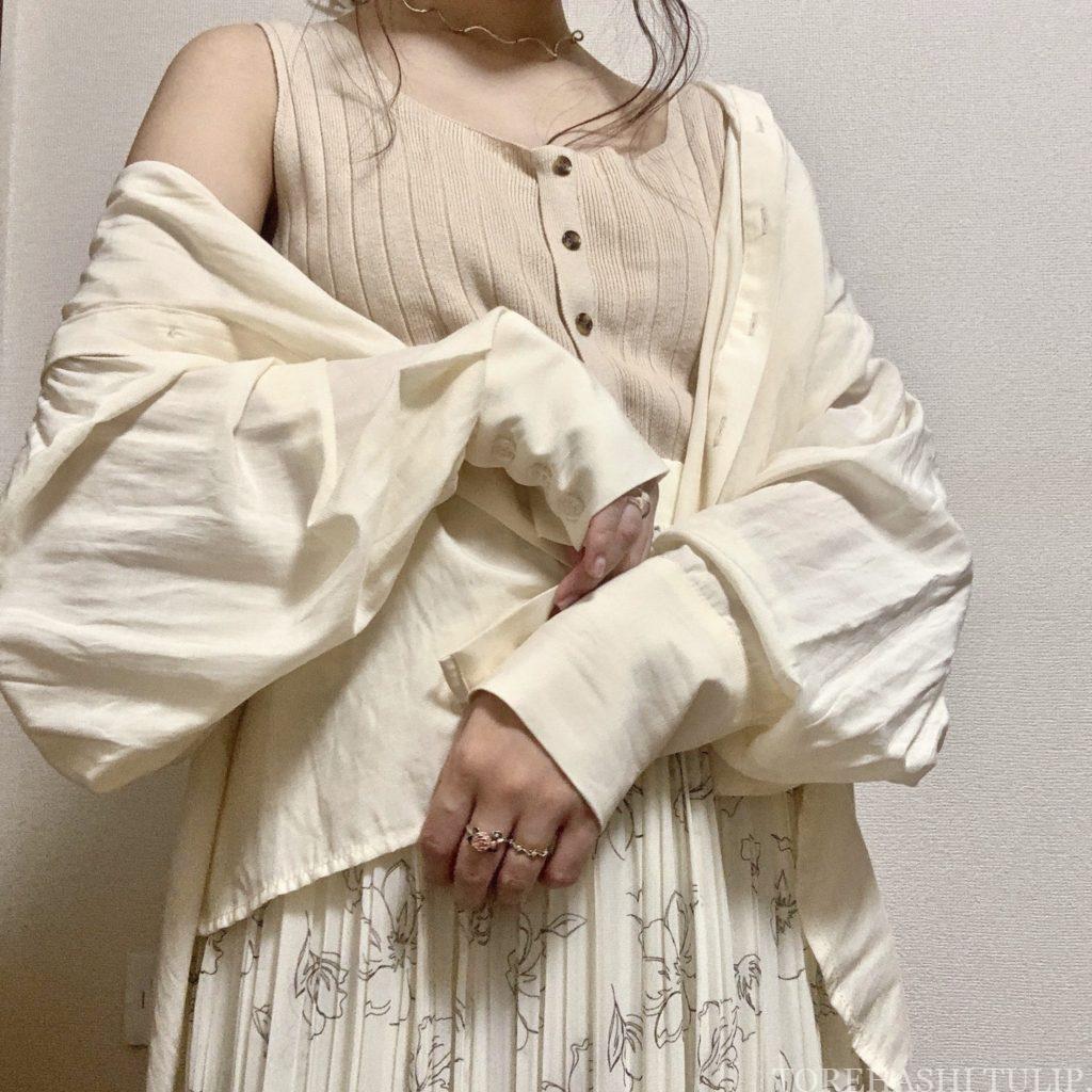 Honeys ハニーズ 2020ss 花柄ロングスカート 大人っぽい 上品 着まわしコーデ 優秀 カジュアルコーデ