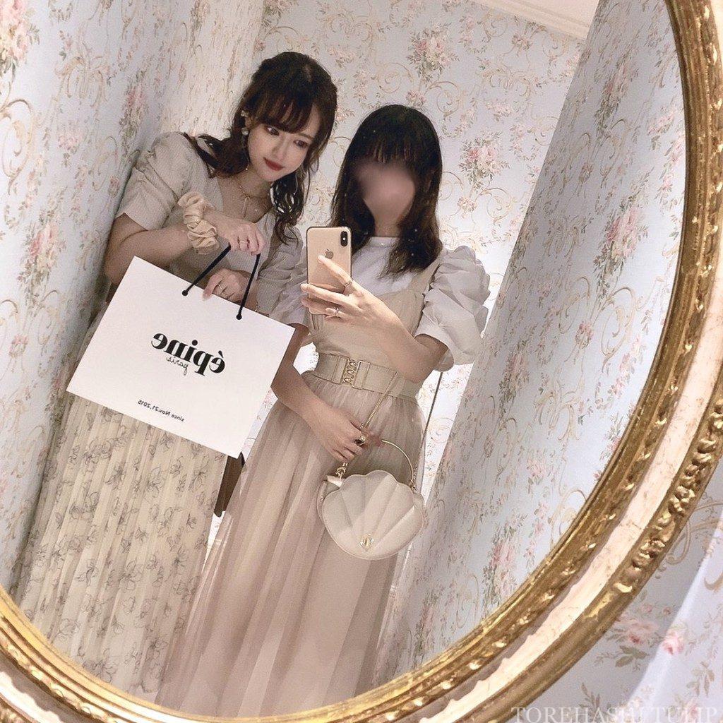 Honeys ハニーズ 2020ss 花柄ロングスカート 大人っぽい 上品 着まわしコーデ 優秀 綺麗めコーデ 淡色コーデ