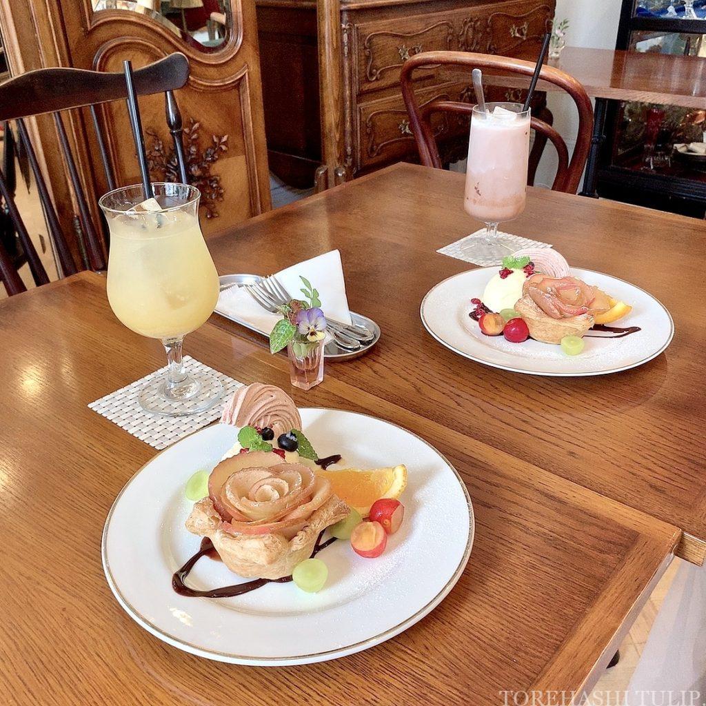 三軒茶屋カフェ 下馬 マジョレルカフェ アンティークギャラリー・マジョレル 自家製プリン レトロカフェ 東京カフェ メニュー 値段 アップルパイアラモード