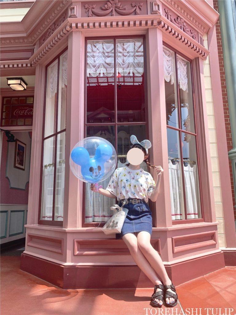 ミッキーバルーン 風船ディズニー ディズニーランド 再開後 バウンドコーデ インスタ映え 写真スポット ポーズ ワールドバザール