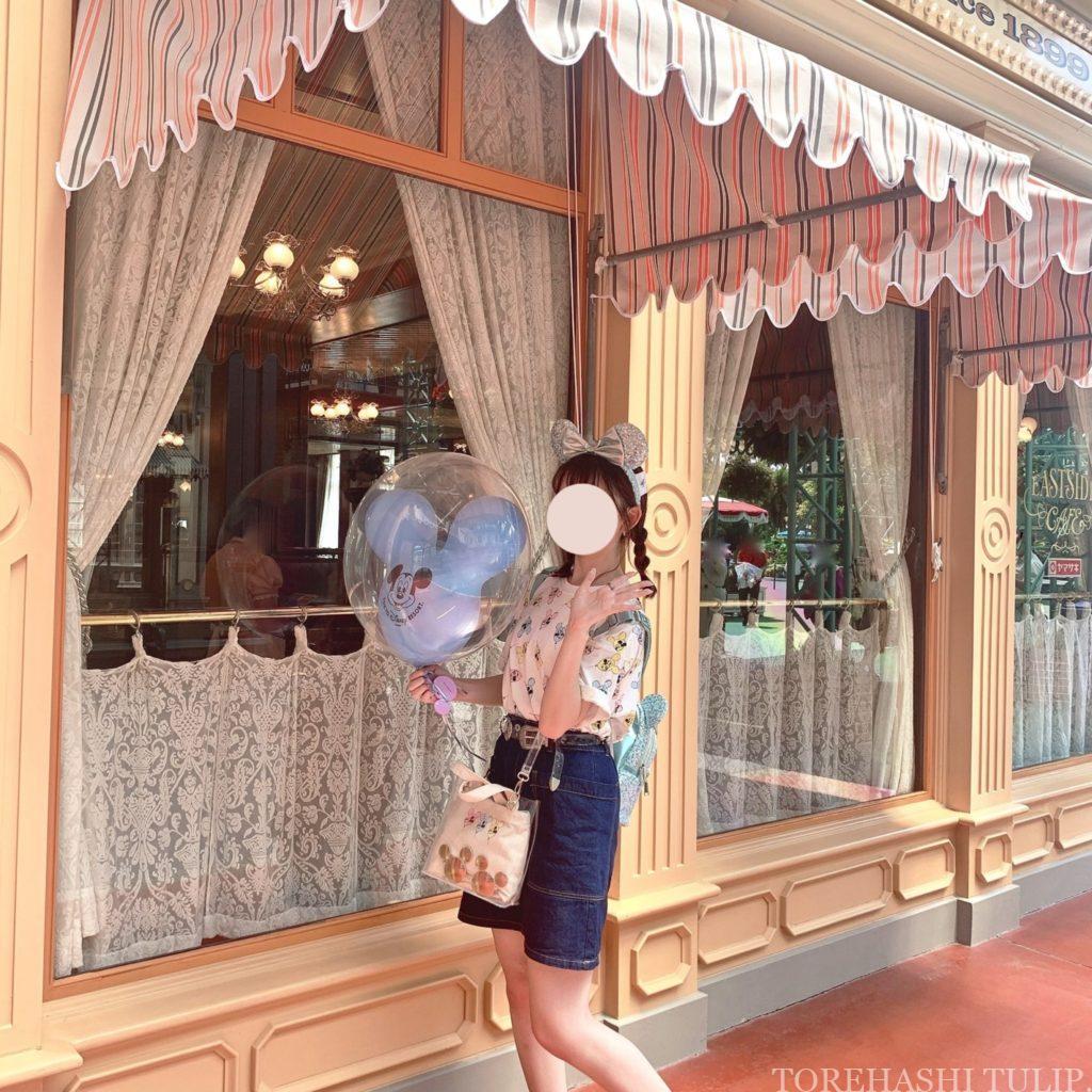 ミッキーバルーン 風船ディズニー ディズニーランド 再開後 バウンドコーデ インスタ映え 写真スポット ポーズ イーストサイド・カフェ