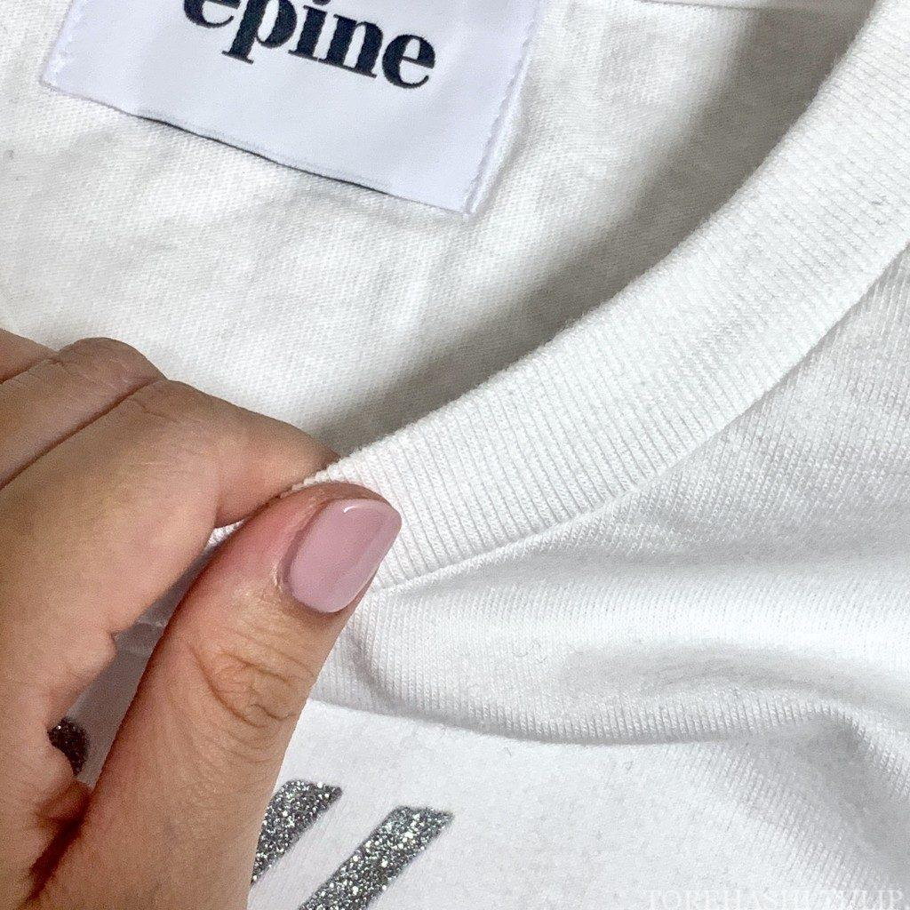 épine エピヌ ロゴTシャツ 夏コーデ Tシャツ グリッターTシャツ 刺繍Tシャツ コーデ 質感