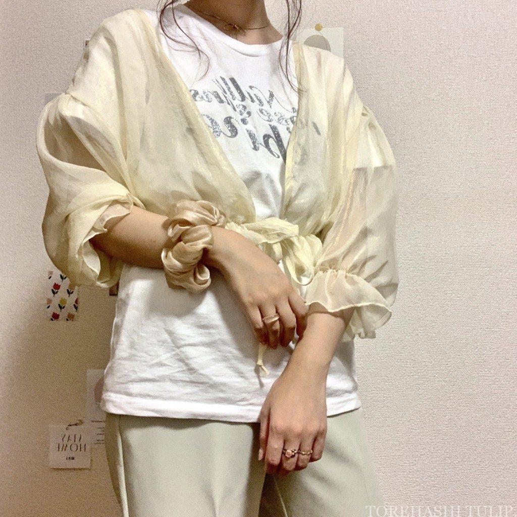 épine エピヌ ロゴTシャツ 夏コーデ Tシャツ グリッターTシャツ 刺繍Tシャツ コーデ 1週間着回しコーデ カラーパンツ カーディガン