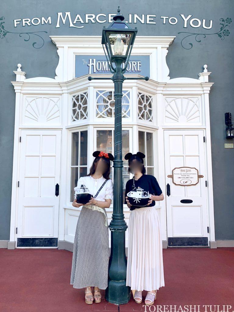 ディズニーランド ホームストア ワールドバザール 写真スポット インスタ映えスポット グレーの壁 マーセリン モノトーンコーデ ポップコーンバケット