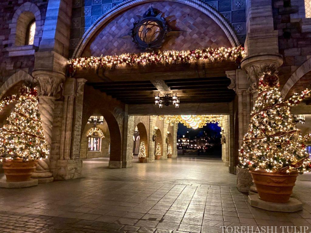 ディズニーシー アメリカンウォーターフロント  ディズニークリスマス クリスマス装飾 インスタ映えスポット 写真ポーズ ダッフィーバウンド 夜景