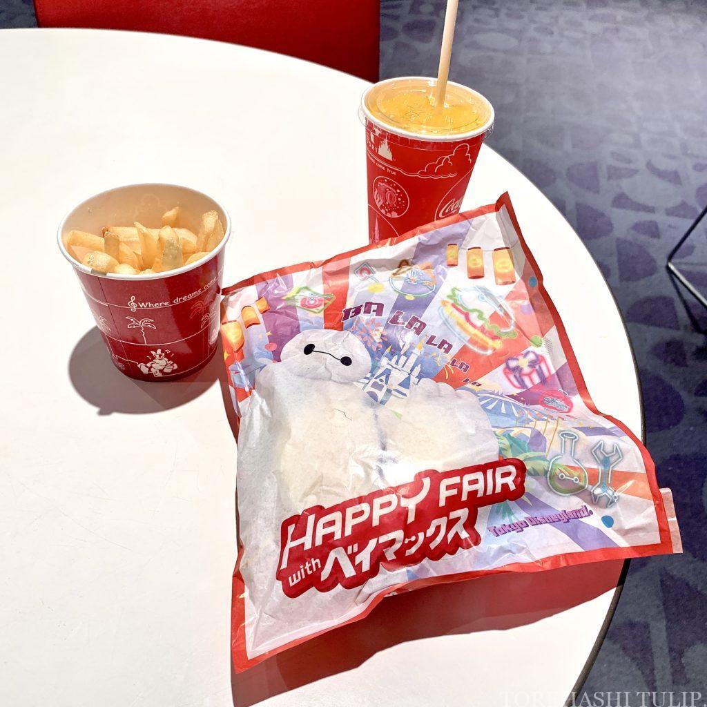 ベイマックス スペシャルメニュー フード ハッピーフェア・ウィズ・ベイマックス インスタ映え メニュー 値段 ベイマックスバーガー(エッグとポーク) トゥモローランド・テラス 和テイストハンバーガー