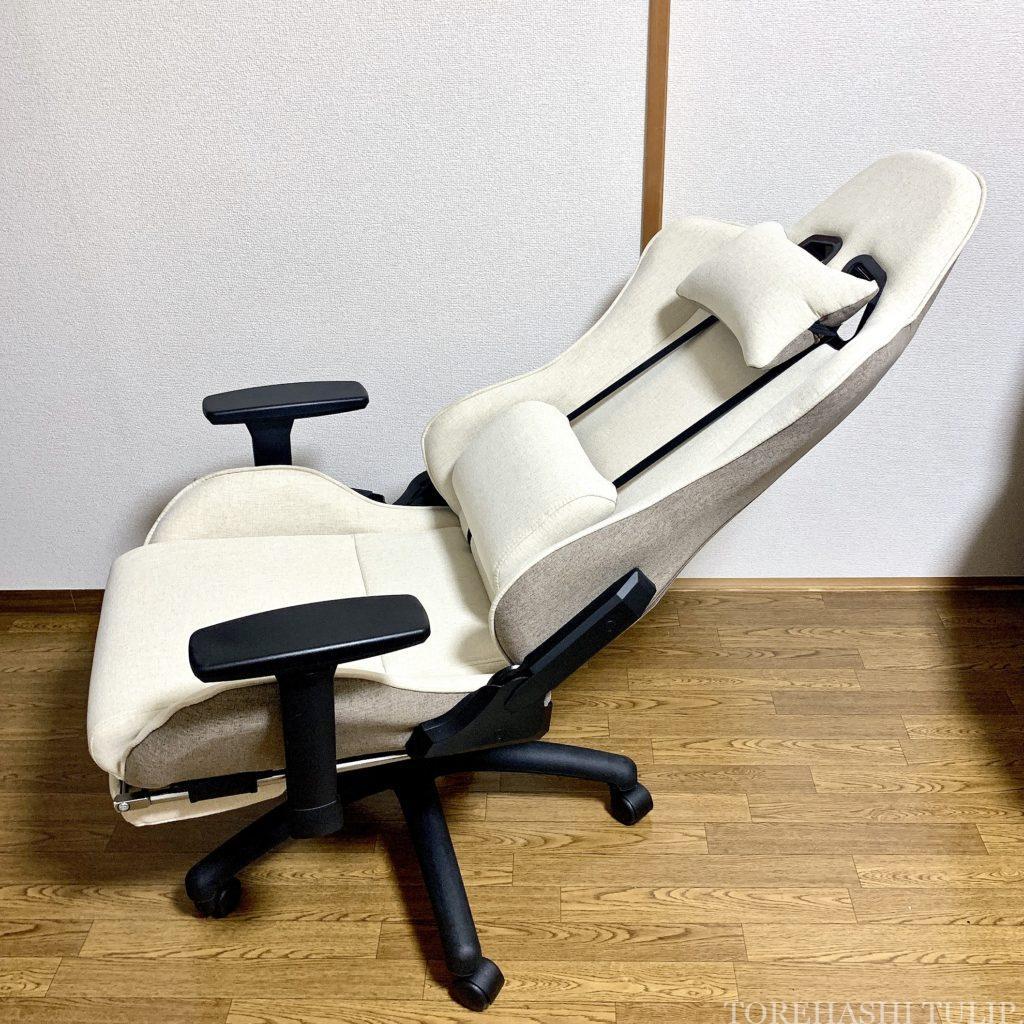 ゲーミングチェア ゲーミング座椅子 椅子 ホワイト 楽天 女性 おしゃれ かわいい インテリア デスクワーク リモートワーク おすすめ Liv House ファブリックハイバックオフィスチェア レビュー 180度リクライニング 足置き