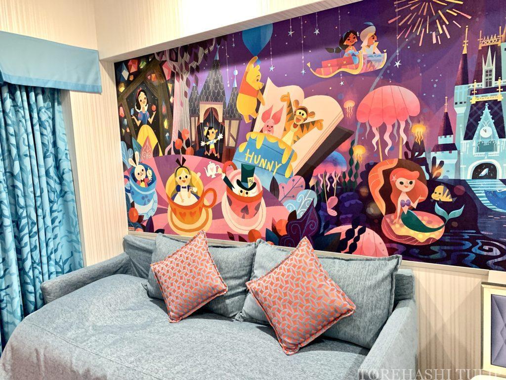 ディズニーホテル 東京ディズニーセレブレーションホテル ウィッシュ 客室 レビュー アメニティー 予約 お部屋紹介 ガーデンサイド ベッド リビング