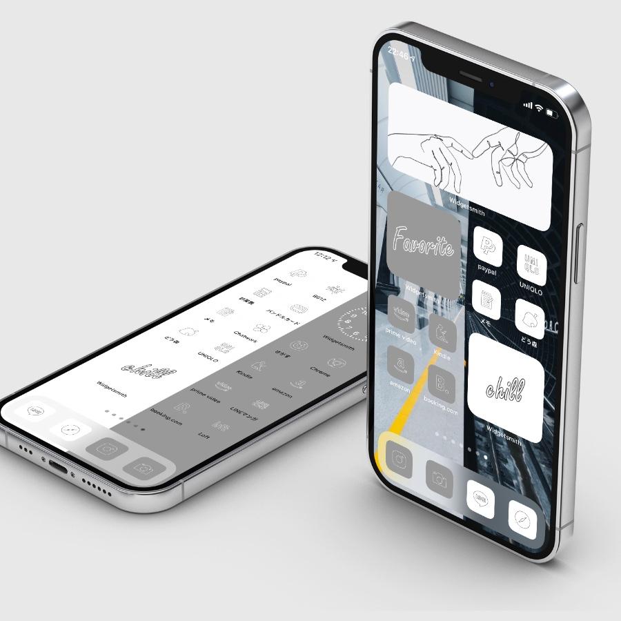 AZ-icon アプリアイコン素材 アイコンパック ホーム画面カスタマイズ おしゃれ 簡単 かわいい 統一感 プチプラ ミニマルアイコンセット ライト&ダーク