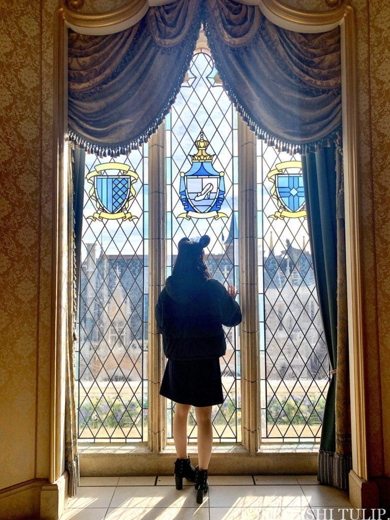 シンデレラのフェアリーホールテイル シンデレラ城 ディズニー ディズニーランド インスタ映えスポット 写真スポット おしゃれ 休止後 再開 展示エリア 窓