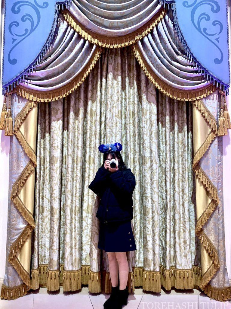 シンデレラのフェアリーホールテイル シンデレラ城 ディズニー ディズニーランド インスタ映えスポット 写真スポット おしゃれ 休止後 再開 メインホールのカーテン