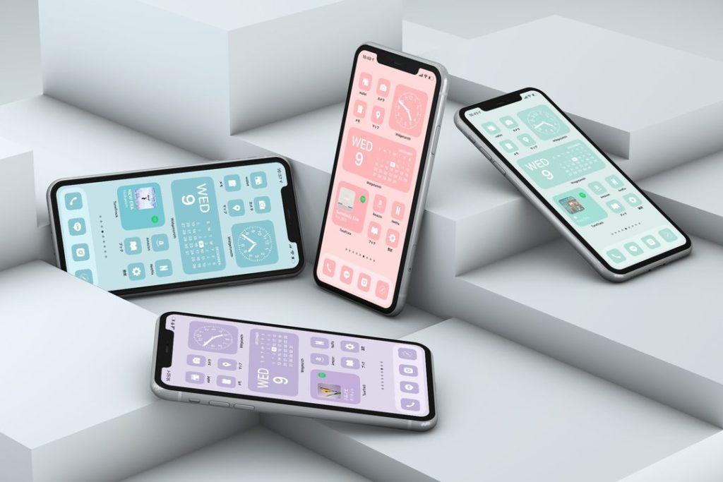 AZ-icon アプリアイコン素材 アイコンパック ホーム画面カスタマイズ おしゃれ 簡単 かわいい 統一感 プチプラ パステル4カラーセット