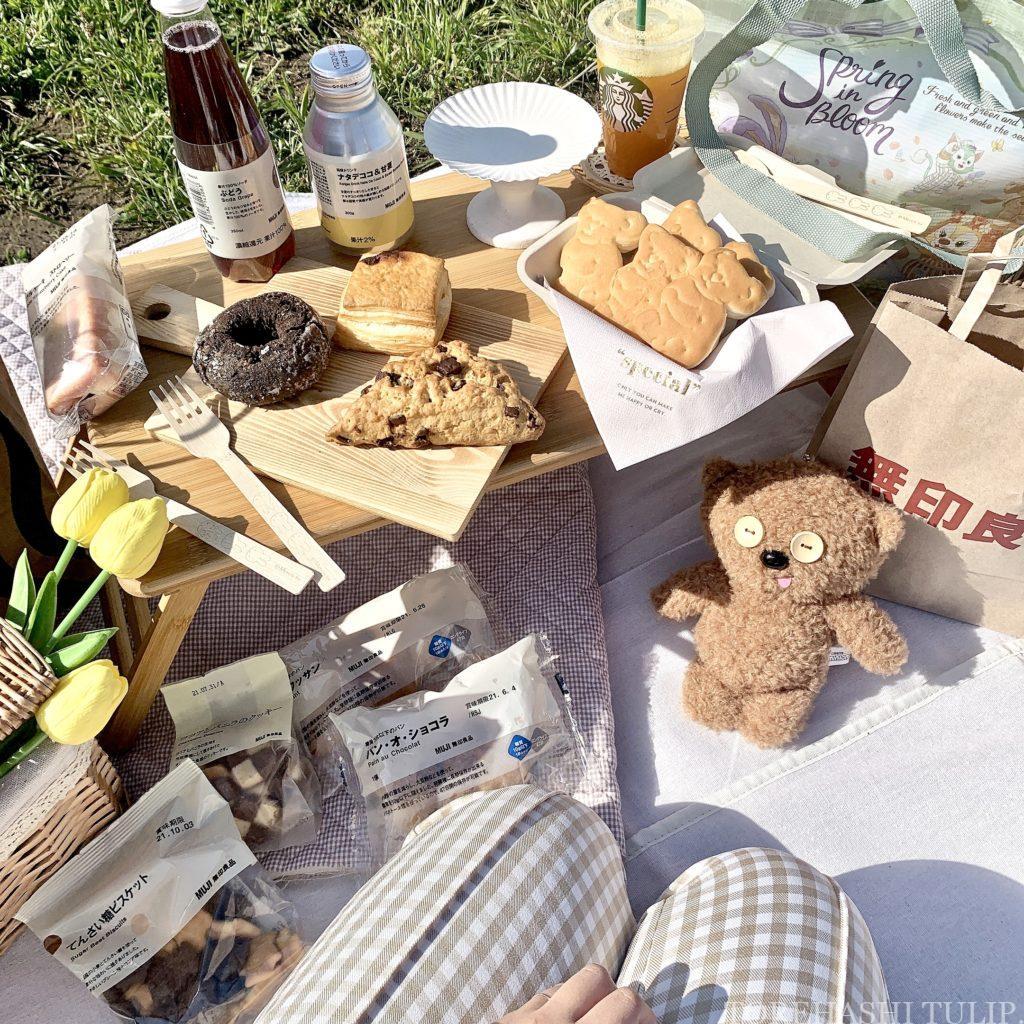 おしゃピク ピクニック おしゃれ 基本とコツ 100均 布 無印良品 ランチ箱 プチプラ 初心者 食べ物 持ち物 木製スプーン 木製フォーク