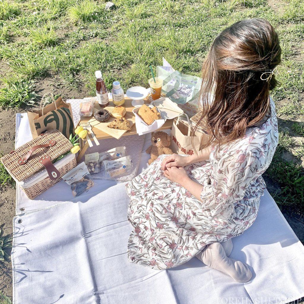 おしゃピク ピクニック おしゃれ 基本とコツ 100均 布 無印良品 ランチ箱 プチプラ 初心者 食べ物 持ち物 レジャーシート 布生地 布製レジャーシート