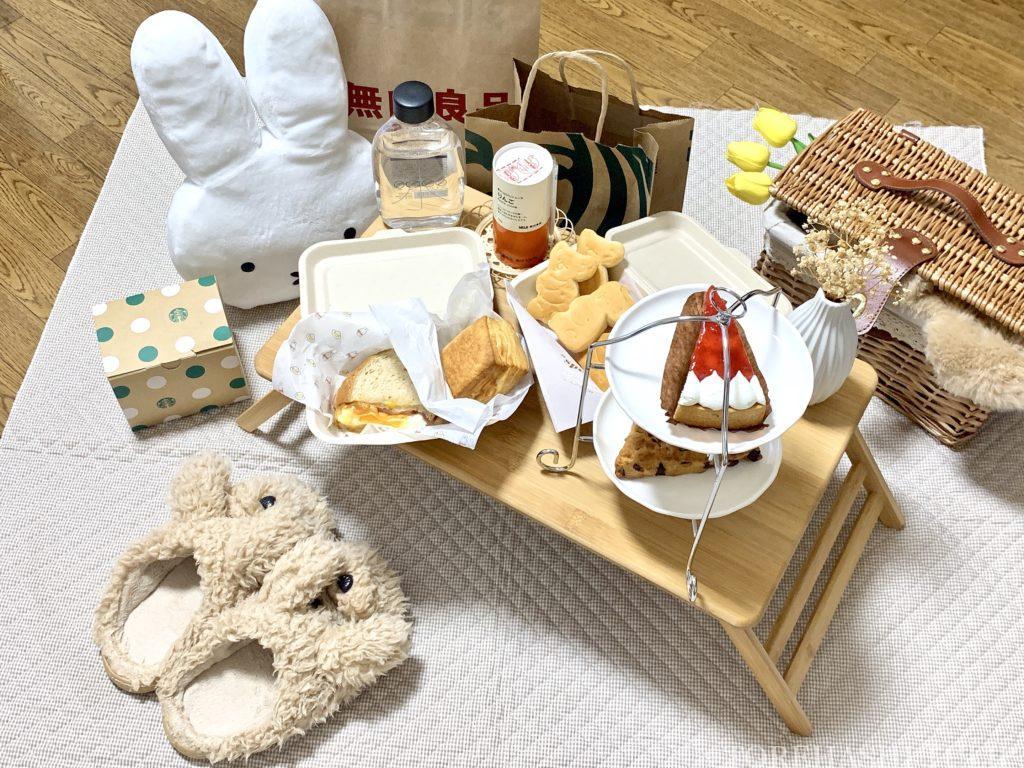 おしゃピク ピクニック おしゃれ 基本とコツ 100均 布 無印良品 ランチ箱 プチプラ 初心者 食べ物 持ち物 折りたたみテーブル キャンプテーブル