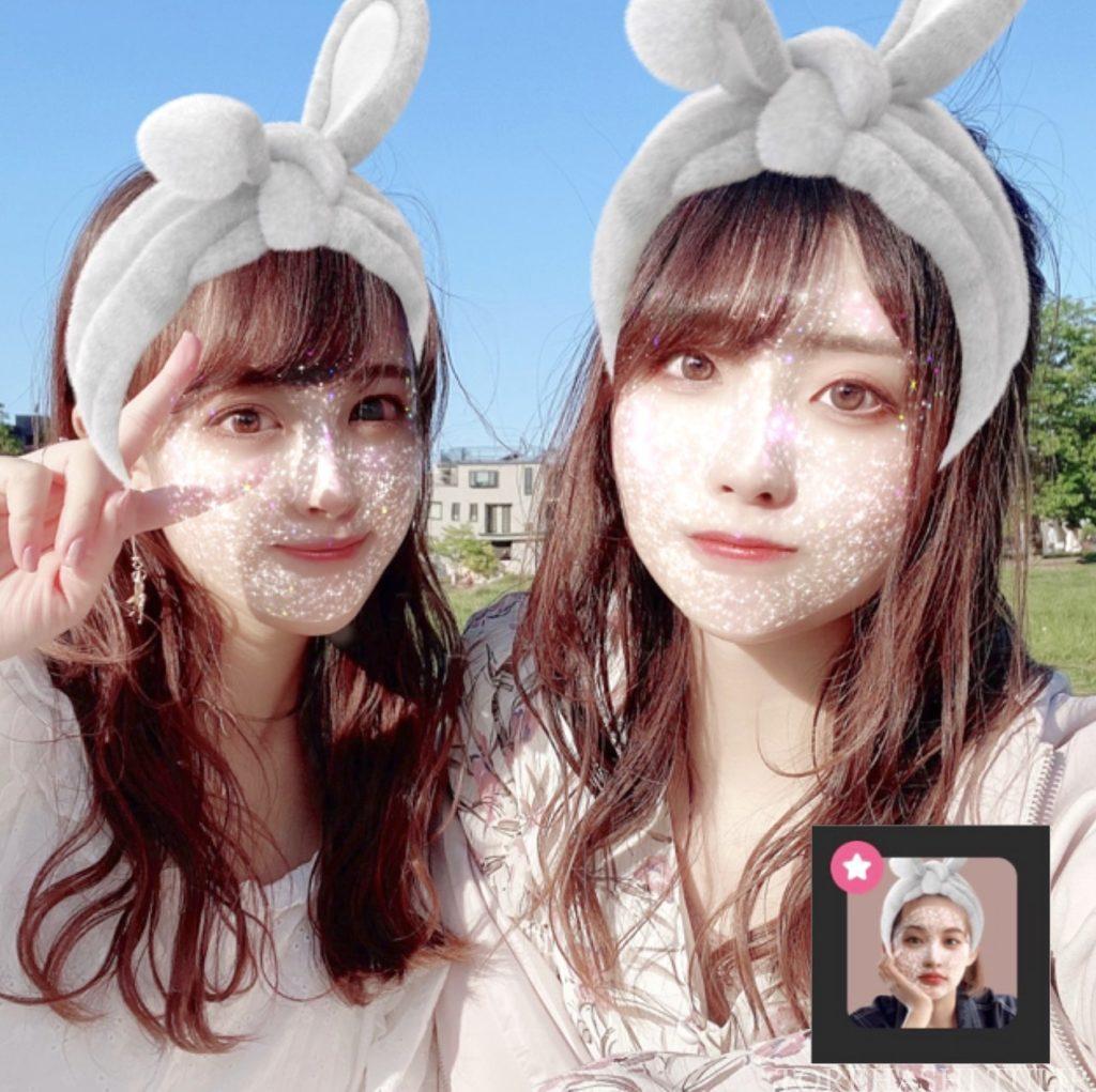 Instagram インスタグラム ストーリー 글리터 마스크 グリッターマスク エフェクト 白いキラキラマスク フィルター 加工アプリ 盛れる SNOW スノー 加工カメラアプリ