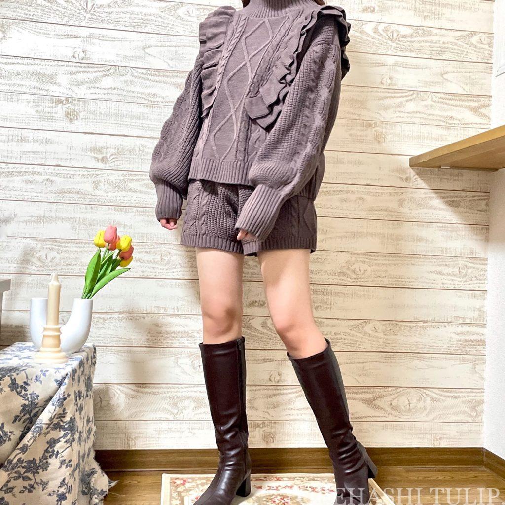 GRL グレイル 通販サイト プチプラ 高見え 2021AW 秋冬 購入品紹介 トレンド 着回しコーデ ブーツ ニット レザースカート セットアップ 大人コーデ ロングブーツ
