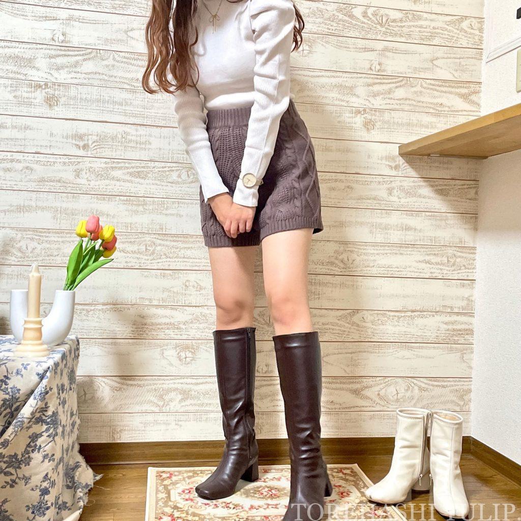 GRL グレイル 通販サイト プチプラ 高見え 2021AW 秋冬 購入品紹介 トレンド 着回しコーデ ブーツ ニット レザースカート セットアップ 大人コーデ ロングブーツ ニットパンツ